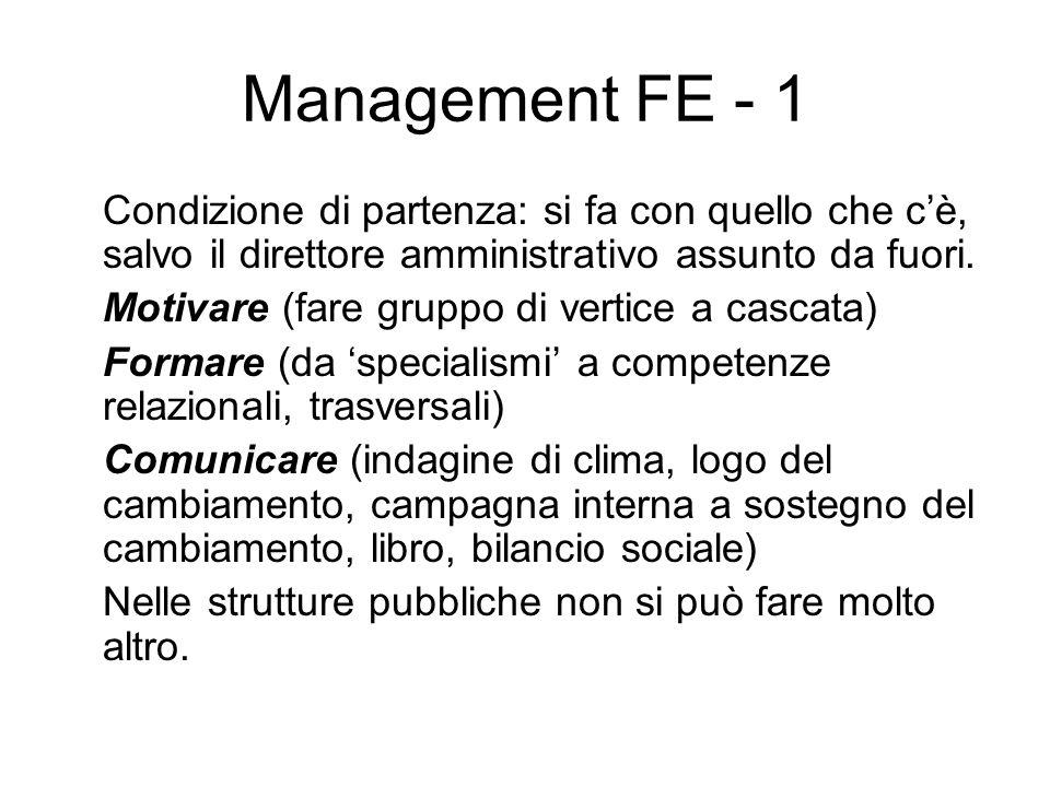 Management FE - 1 Condizione di partenza: si fa con quello che c'è, salvo il direttore amministrativo assunto da fuori.