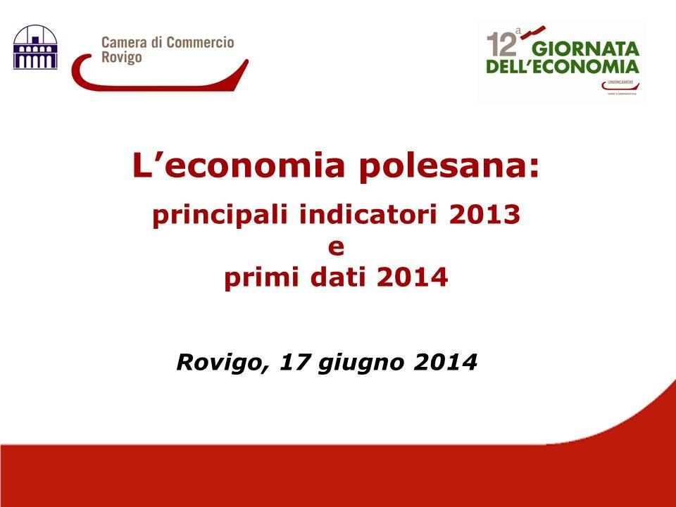 1 L'economia polesana: principali indicatori 2013 e primi dati 2014 Rovigo, 17 giugno 2014