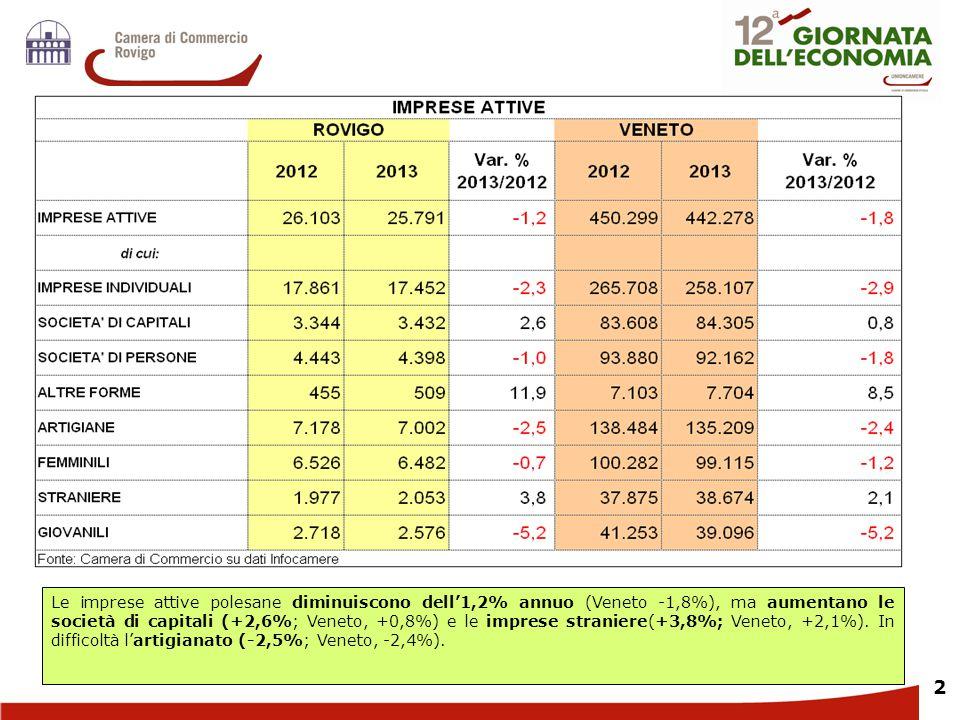 33 L Nella provincia di Rovigo la platea delle imprese attive diminuisce su base annua, meno rispetto al Veneto, ma in misura superiore alla media nazionale.
