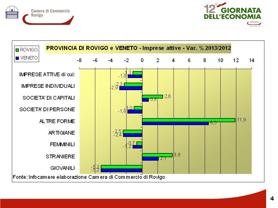 5 Il tasso di sviluppo del sistema polesano delle imprese è negativo, ma in miglioramento rispetto al 2012.