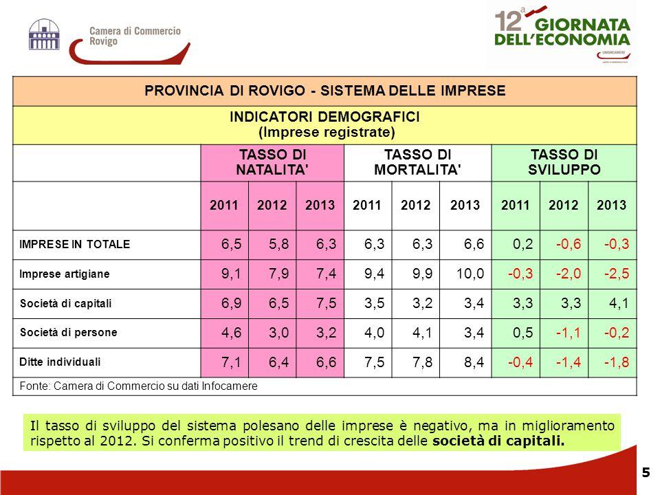 5 Il tasso di sviluppo del sistema polesano delle imprese è negativo, ma in miglioramento rispetto al 2012. Si conferma positivo il trend di crescita