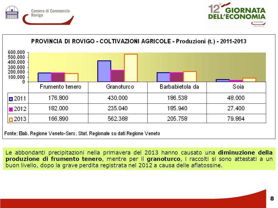 8 Le abbondanti precipitazioni nella primavera del 2013 hanno causato una diminuzione della produzione di frumento tenero, mentre per il granoturco, i