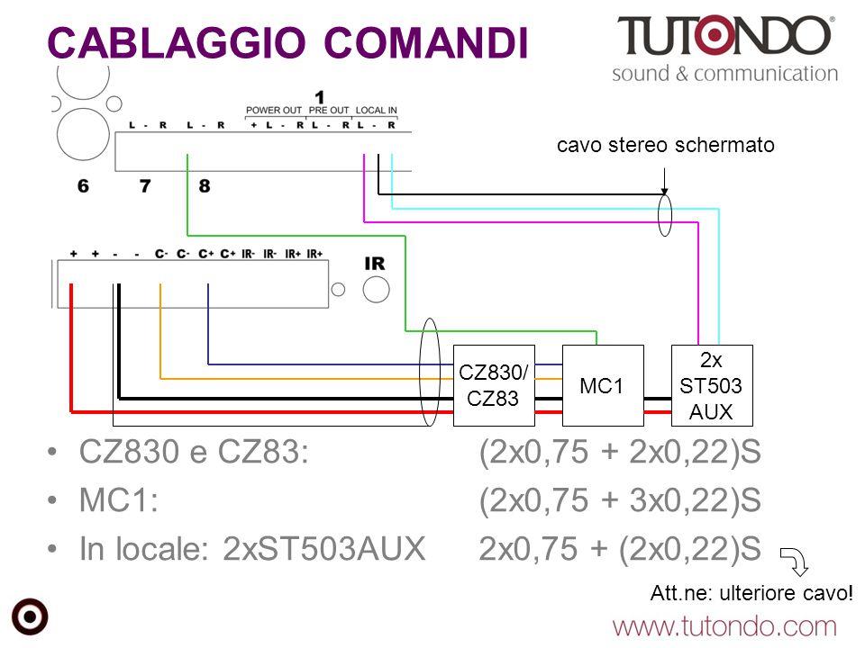 CABLAGGIO COMANDI CZ830 e CZ83:(2x0,75 + 2x0,22)S MC1:(2x0,75 + 3x0,22)S In locale: 2xST503AUX2x0,75 + (2x0,22)S MC1 CZ830/ CZ83 2x ST503 AUX cavo stereo schermato Att.ne: ulteriore cavo!