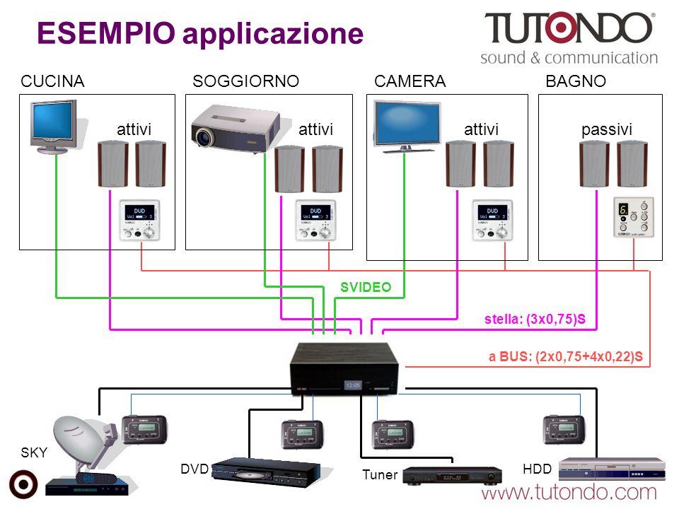 ESEMPIO applicazione a BUS: (2x0,75+4x0,22)S stella: (3x0,75)S SVIDEO CUCINASOGGIORNOCAMERABAGNO attivi passivi SKY HDD DVD Tuner