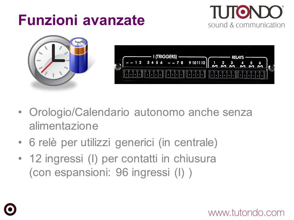 Funzioni avanzate Orologio/Calendario autonomo anche senza alimentazione 6 relè per utilizzi generici (in centrale) 12 ingressi (I) per contatti in ch