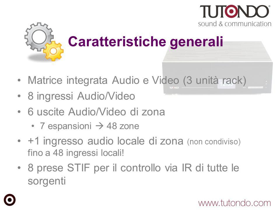 Caratteristiche generali Matrice integrata Audio e Video (3 unità rack) 8 ingressi Audio/Video 6 uscite Audio/Video di zona 7 espansioni  48 zone +1 ingresso audio locale di zona (non condiviso) fino a 48 ingressi locali.