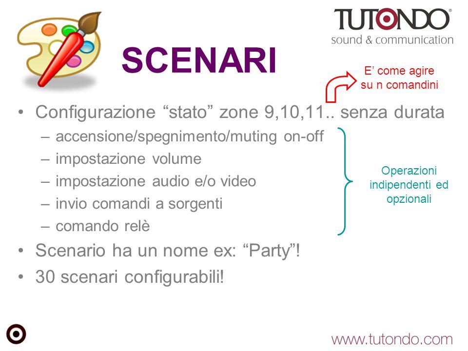 """SCENARI Configurazione """"stato"""" zone 9,10,11.. senza durata –accensione/spegnimento/muting on-off –impostazione volume –impostazione audio e/o video –i"""