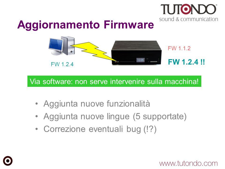 Aggiornamento Firmware Aggiunta nuove funzionalità Aggiunta nuove lingue (5 supportate) Correzione eventuali bug (!?) FW 1.2.4 FW 1.1.2 FW 1.2.4 !! Vi