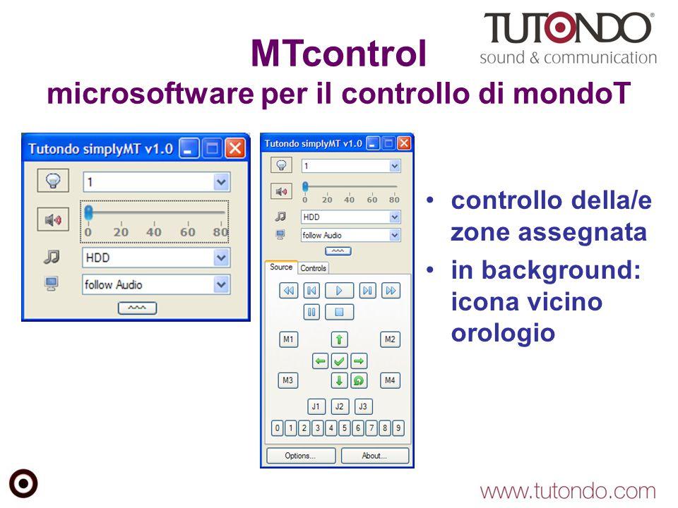 MTcontrol microsoftware per il controllo di mondoT controllo della/e zone assegnata in background: icona vicino orologio