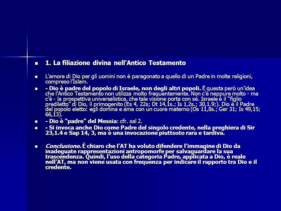 1. La filiazione divina nell'Antico Testamento 1. La filiazione divina nell'Antico Testamento L'amore di Dio per gli uomini non è paragonato a quello