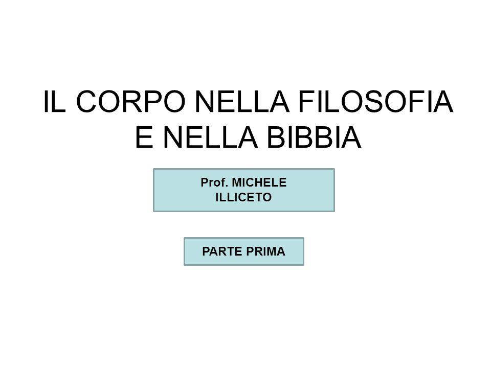 IL CORPO NELLA FILOSOFIA E NELLA BIBBIA Prof. MICHELE ILLICETO PARTE PRIMA