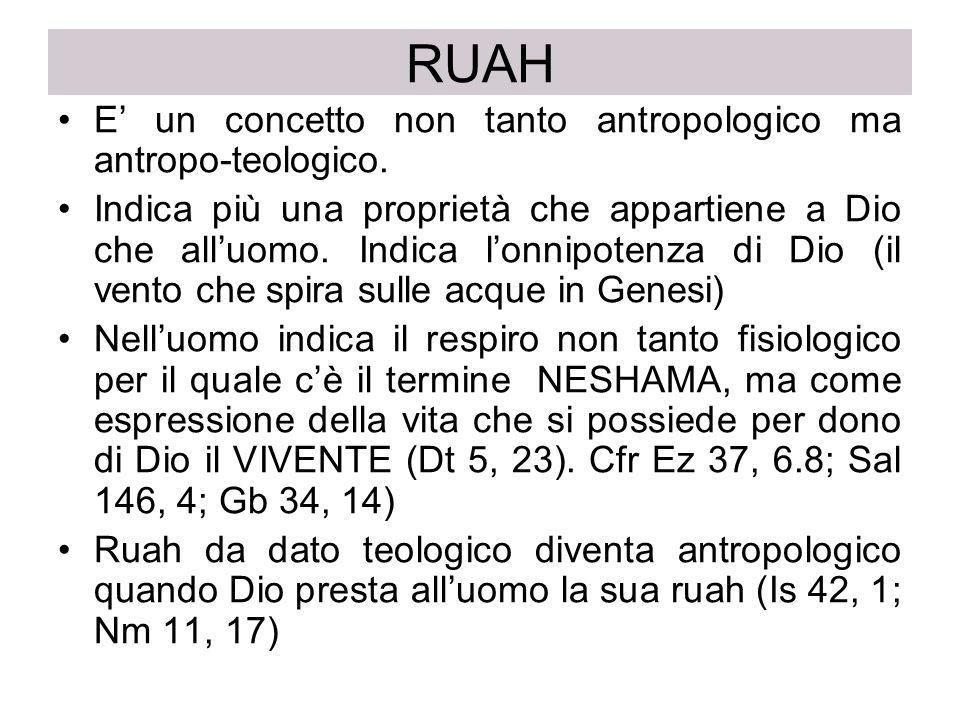 RUAH E' un concetto non tanto antropologico ma antropo-teologico.