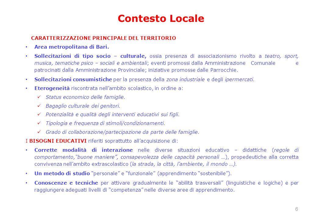 CARATTERIZZAZIONE PRINCIPALE DEL TERRITORIO Area metropolitana di Bari. Sollecitazioni di tipo socio – culturale, ossia presenza di associazionismo ri