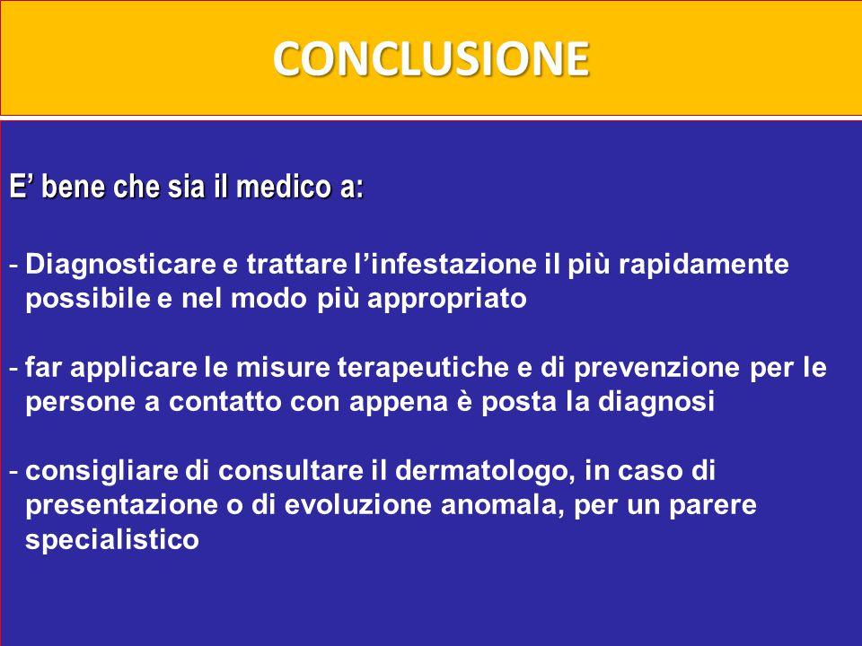CONCLUSIONE E' bene che sia il medico a: -Diagnosticare e trattare l'infestazione il più rapidamente possibile e nel modo più appropriato -far applica
