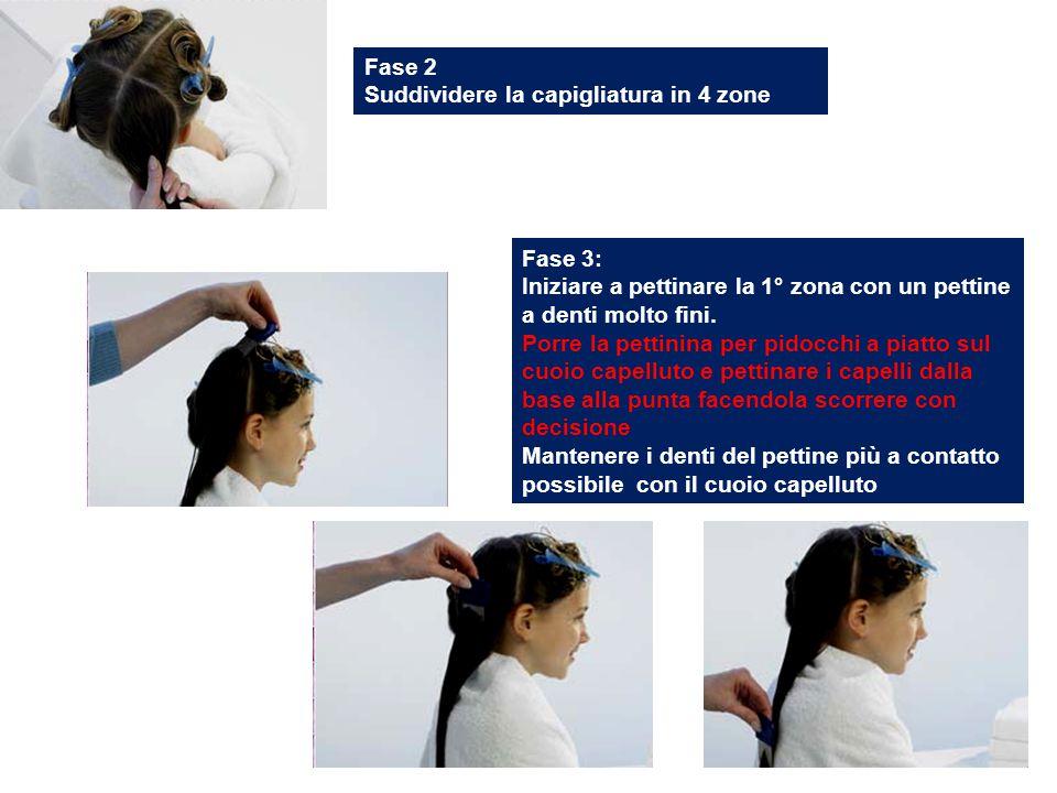 Fase 2 Suddividere la capigliatura in 4 zone Fase 3: Iniziare a pettinare la 1° zona con un pettine a denti molto fini. Porre la pettinina per pidocch