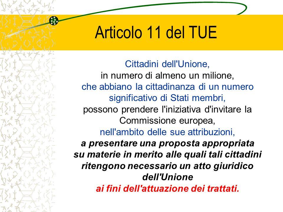 Articolo 11 del TUE Cittadini dell'Unione, in numero di almeno un milione, che abbiano la cittadinanza di un numero significativo di Stati membri, pos