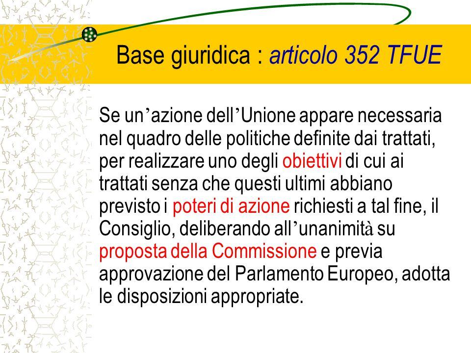Base giuridica : articolo 352 TFUE Se un ' azione dell ' Unione appare necessaria nel quadro delle politiche definite dai trattati, per realizzare uno