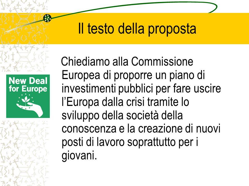 Il testo della proposta Chiediamo alla Commissione Europea di proporre un piano di investimenti pubblici per fare uscire l'Europa dalla crisi tramite