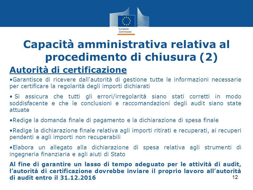 Autorità di certificazione Garantisce di ricevere dall'autorità di gestione tutte le informazioni necessarie per certificare la regolarità degli impor