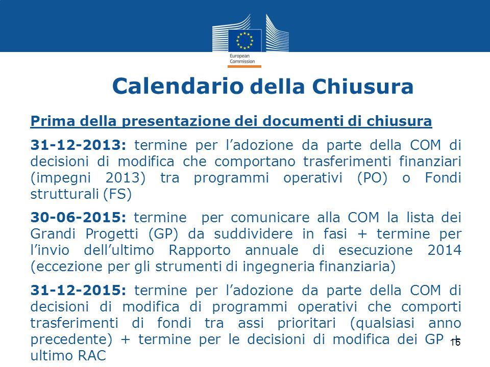 Calendario della Chiusura Prima della presentazione dei documenti di chiusura 31-12-2013: termine per l'adozione da parte della COM di decisioni di mo