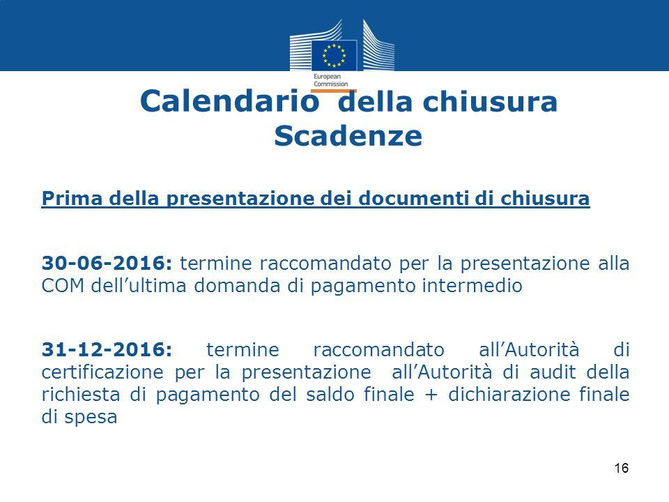 Calendario della chiusura Scadenze Prima della presentazione dei documenti di chiusura 30-06-2016: termine raccomandato per la presentazione alla COM