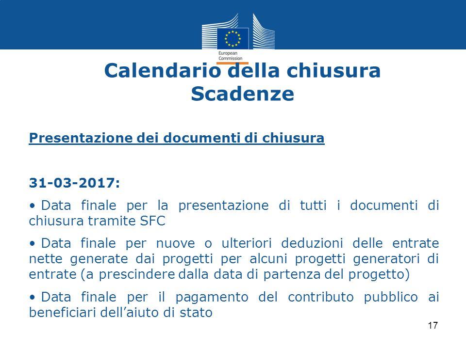 Calendario della chiusura Scadenze Presentazione dei documenti di chiusura 31-03-2017: Data finale per la presentazione di tutti i documenti di chiusu