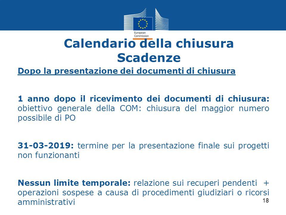 Calendario della chiusura Scadenze Dopo la presentazione dei documenti di chiusura 1 anno dopo il ricevimento dei documenti di chiusura: obiettivo gen