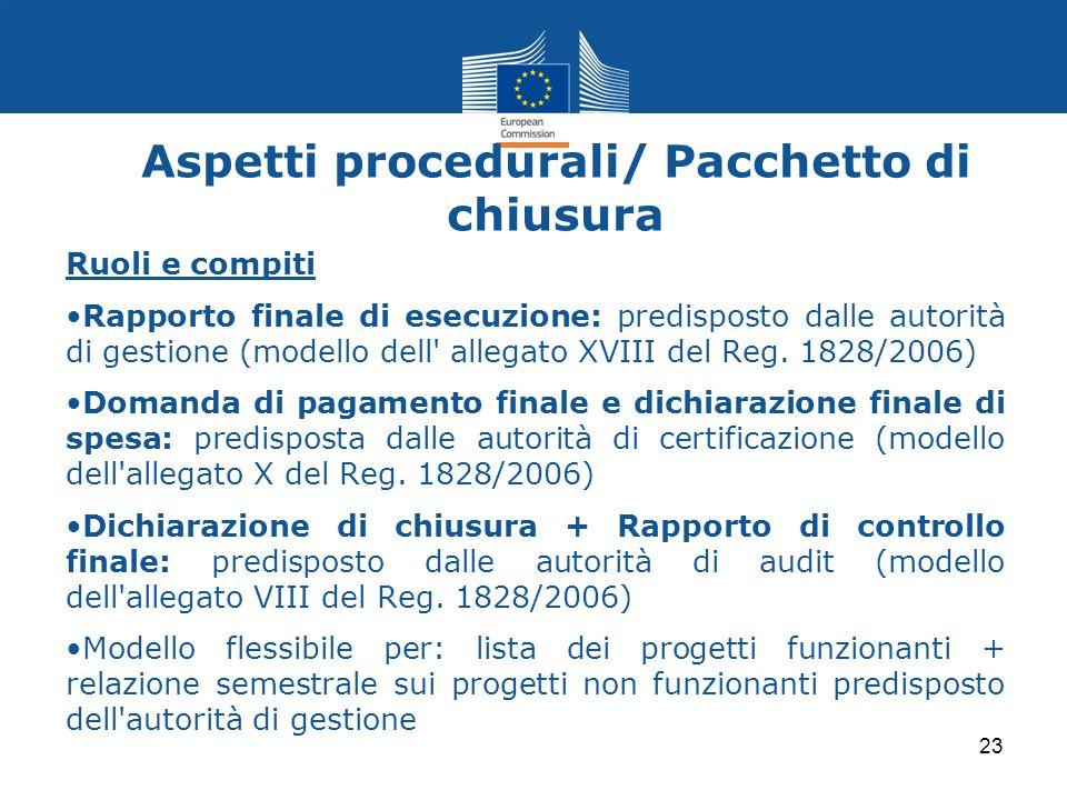 Aspetti procedurali/ Pacchetto di chiusura Ruoli e compiti Rapporto finale di esecuzione: predisposto dalle autorità di gestione (modello dell' allega