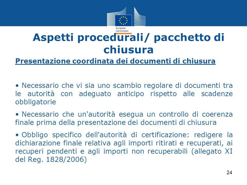Aspetti procedurali/ pacchetto di chiusura Presentazione coordinata dei documenti di chiusura Necessario che vi sia uno scambio regolare di documenti