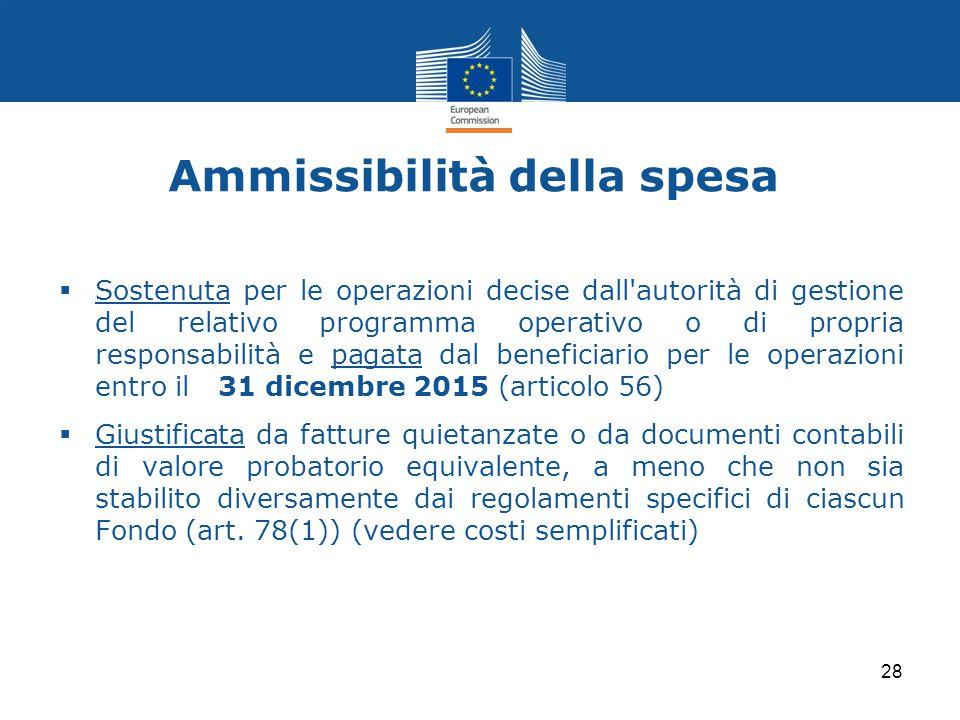 Ammissibilità della spesa  Sostenuta per le operazioni decise dall'autorità di gestione del relativo programma operativo o di propria responsabilità