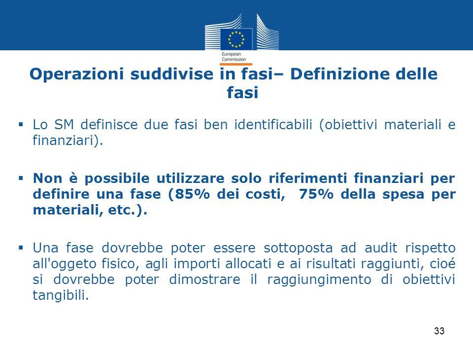 Operazioni suddivise in fasi– Definizione delle fasi  Lo SM definisce due fasi ben identificabili (obiettivi materiali e finanziari).  Non è possibi