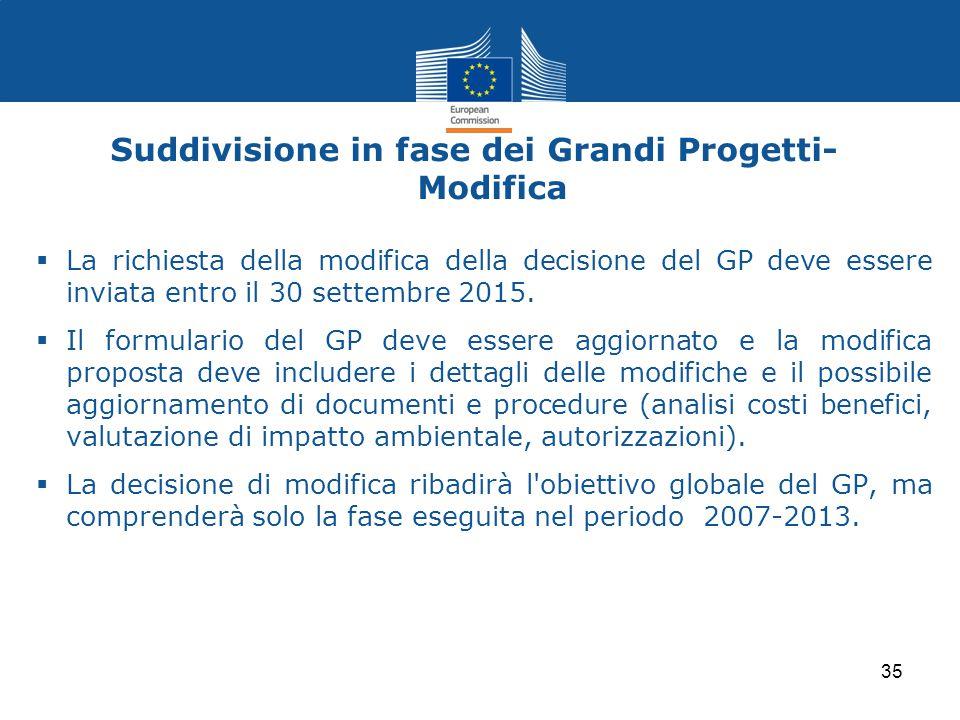 Suddivisione in fase dei Grandi Progetti- Modifica  La richiesta della modifica della decisione del GP deve essere inviata entro il 30 settembre 2015