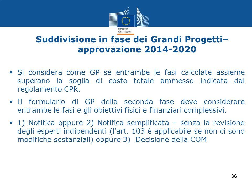Suddivisione in fase dei Grandi Progetti– approvazione 2014-2020  Si considera come GP se entrambe le fasi calcolate assieme superano la soglia di co