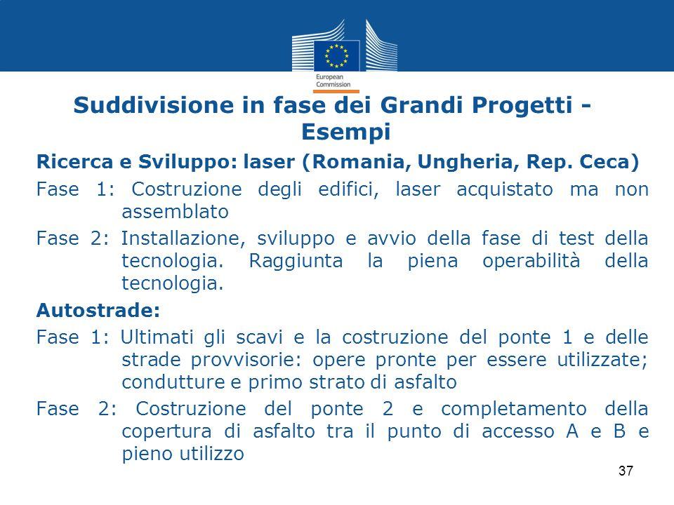 Suddivisione in fase dei Grandi Progetti - Esempi Ricerca e Sviluppo: laser (Romania, Ungheria, Rep. Ceca) Fase 1: Costruzione degli edifici, laser ac