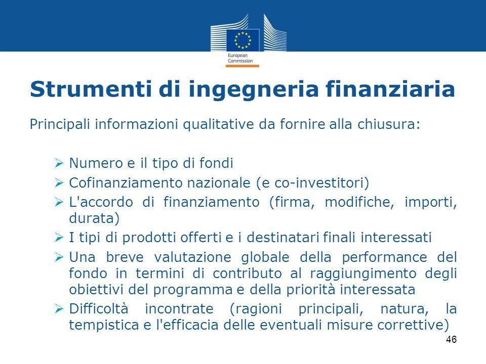 Principali informazioni qualitative da fornire alla chiusura:  Numero e il tipo di fondi  Cofinanziamento nazionale (e co-investitori)  L'accordo d