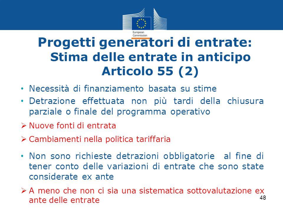 Progetti generatori di entrate : Stima delle entrate in anticipo Articolo 55 (2) Necessità di finanziamento basata su stime Detrazione effettuata non