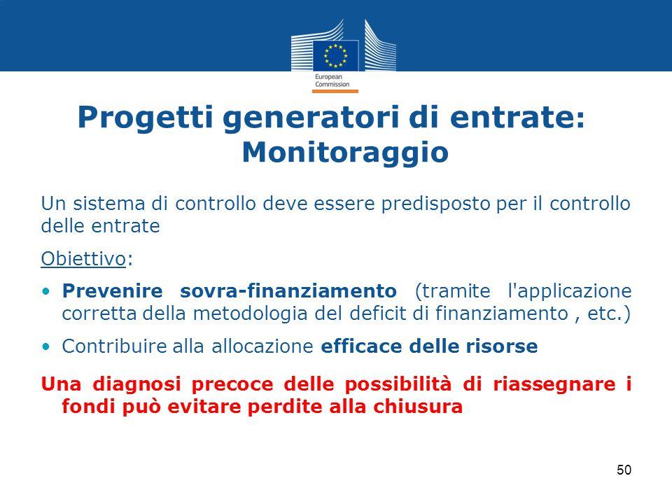 Progetti generatori di entrate : Monitoraggio Un sistema di controllo deve essere predisposto per il controllo delle entrate Obiettivo: Prevenire sovr