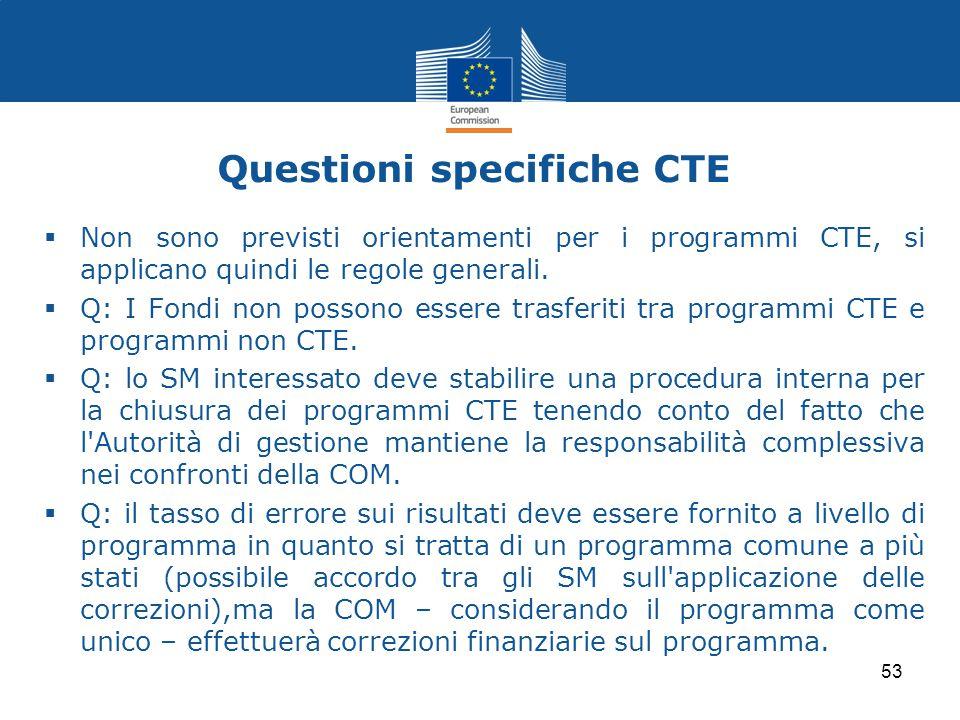 Questioni specifiche CTE  Non sono previsti orientamenti per i programmi CTE, si applicano quindi le regole generali.  Q: I Fondi non possono essere
