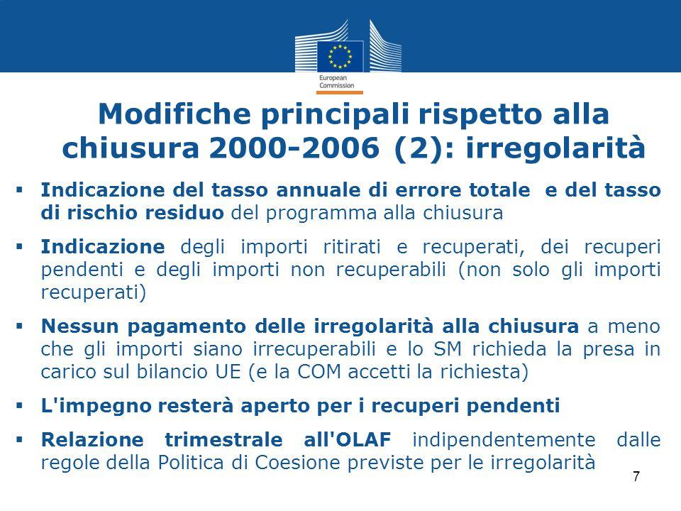 Modifiche principali rispetto alla chiusura 2000-2006 (2): irregolarità  Indicazione del tasso annuale di errore totale e del tasso di rischio residu