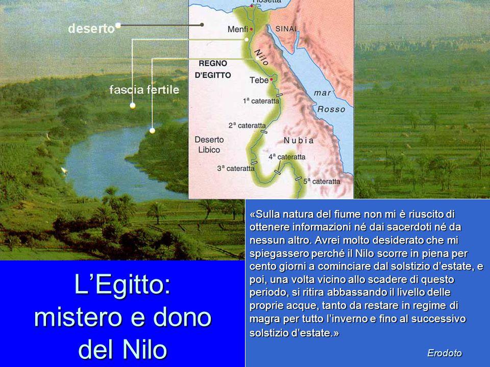 L'Egitto: mistero e dono del Nilo «Sulla natura del fiume non mi è riuscito di ottenere informazioni né dai sacerdoti né da nessun altro. Avrei molto