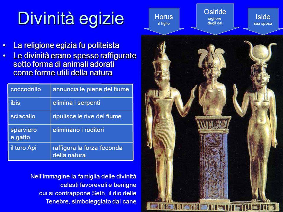 Divinità egizie La religione egizia fu politeistaLa religione egizia fu politeista Le divinità erano spesso raffigurate sotto forma di animali adorati