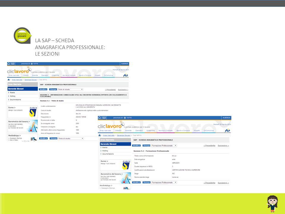LA SAP – SCHEDA ANAGRAFICA PROFESSIONALE: LE SEZIONI Rossi Mario M 23/06/1989 RSSMRA89H23H501C