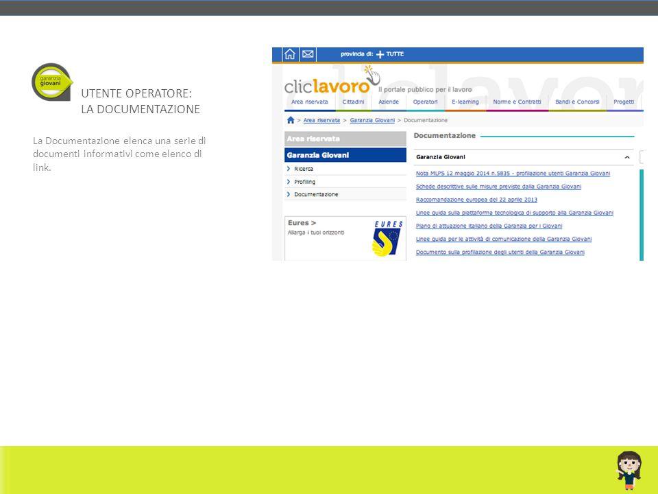 La Documentazione elenca una serie di documenti informativi come elenco di link. UTENTE OPERATORE: LA DOCUMENTAZIONE