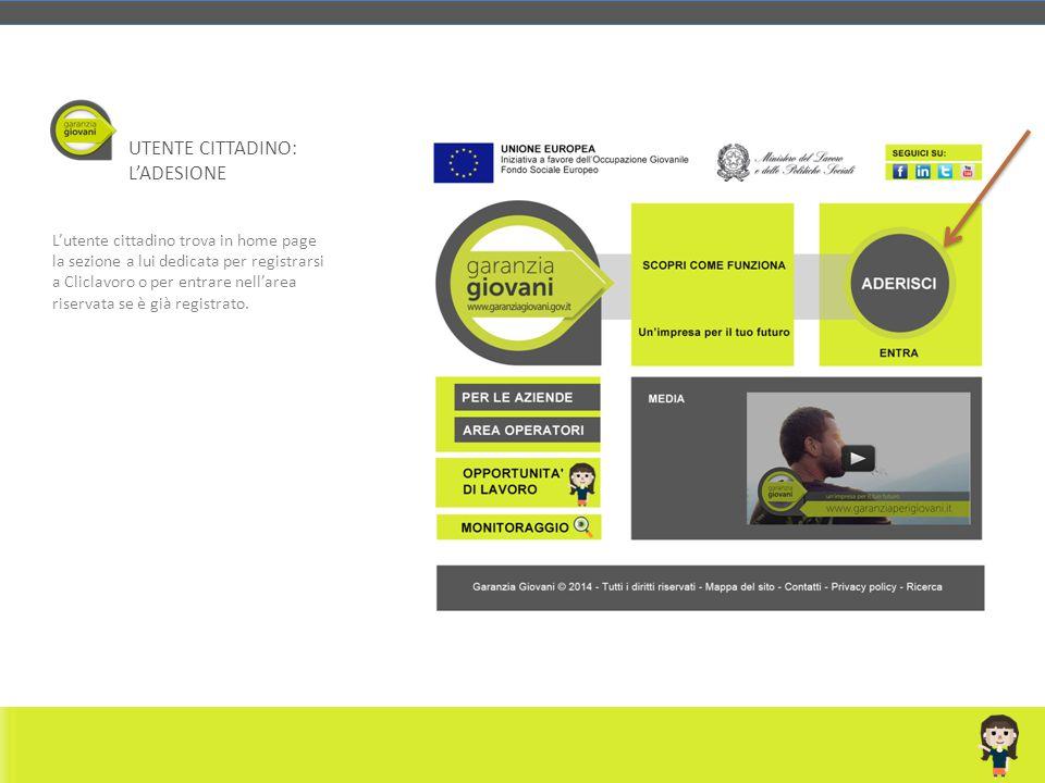 L'utente cittadino trova in home page la sezione a lui dedicata per registrarsi a Cliclavoro o per entrare nell'area riservata se è già registrato. UT