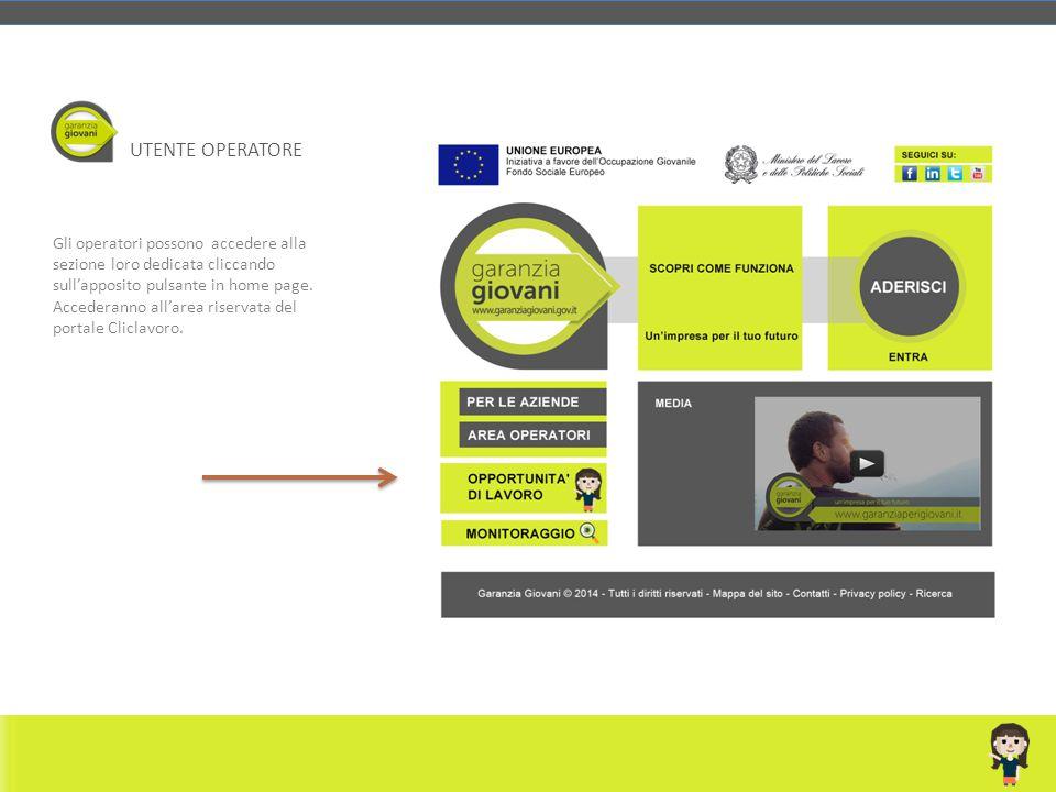 Gli operatori possono accedere alla sezione loro dedicata cliccando sull'apposito pulsante in home page. Accederanno all'area riservata del portale Cl