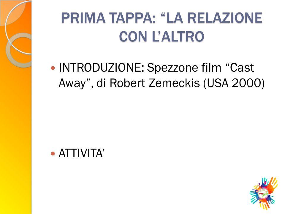 """PRIMA TAPPA: """"LA RELAZIONE CON L'ALTRO INTRODUZIONE: Spezzone film """"Cast Away"""", di Robert Zemeckis (USA 2000) ATTIVITA'"""