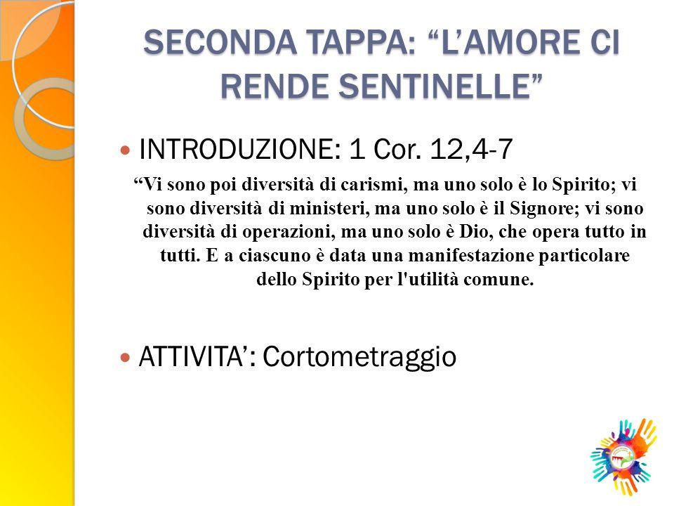 SECONDA TAPPA: L'AMORE CI RENDE SENTINELLE INTRODUZIONE: 1 Cor.