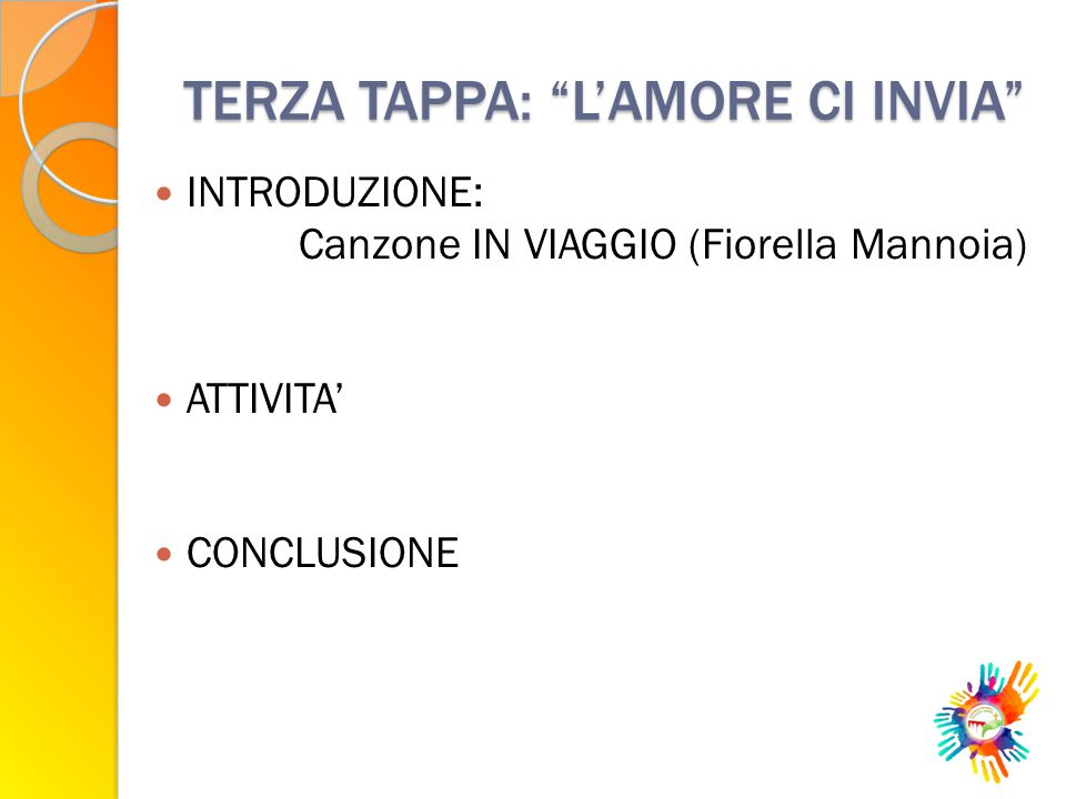 """TERZA TAPPA: """"L'AMORE CI INVIA"""" INTRODUZIONE: Canzone IN VIAGGIO (Fiorella Mannoia) ATTIVITA' CONCLUSIONE"""