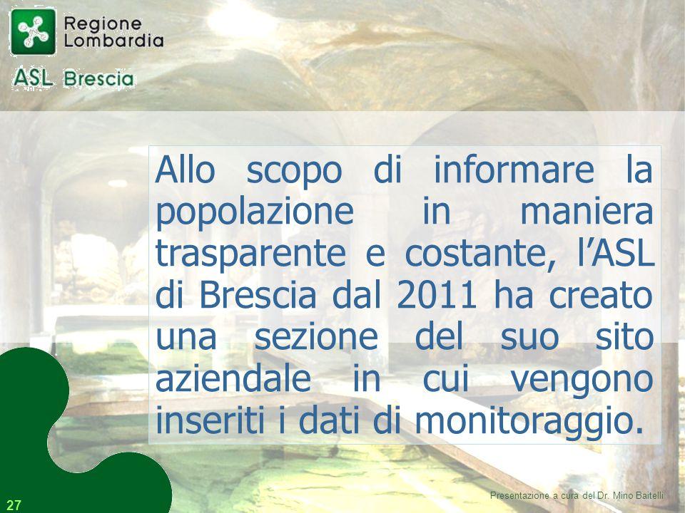 27 Allo scopo di informare la popolazione in maniera trasparente e costante, l'ASL di Brescia dal 2011 ha creato una sezione del suo sito aziendale in cui vengono inseriti i dati di monitoraggio.