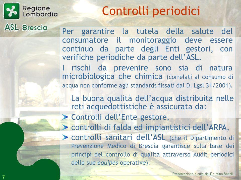 7 Per garantire la tutela della salute del consumatore il monitoraggio deve essere continuo da parte degli Enti gestori, con verifiche periodiche da parte dell'ASL.